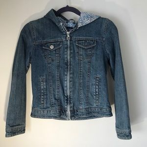 Gap Girl's Hooded Jean Jacket-size XXL